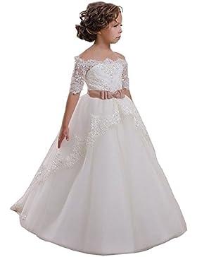 VIPbridal Fiore bianco Girl Dress con merletto Appliques vestito della prima comunione