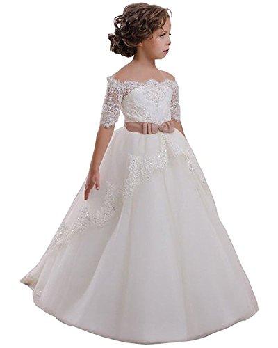 VIPbridal Fiore bianco Girl Dress con merletto Appliques vestito della prima comunione (11)