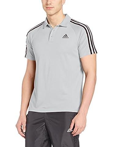 adidas D2M 3S Short Sleeve Tennis Polo for Man, White, M