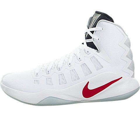 Nike Herren Hyperdunk 2016 Basketballschuhe, Blanco (White / Bright Crimson-Dark Obsidian), 42.5 EU