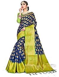 Nirja Creation Banarasi cotton with Blouse Piece Saree (NC-RS-GULABROUND_3_ Navy Blue_ Free)
