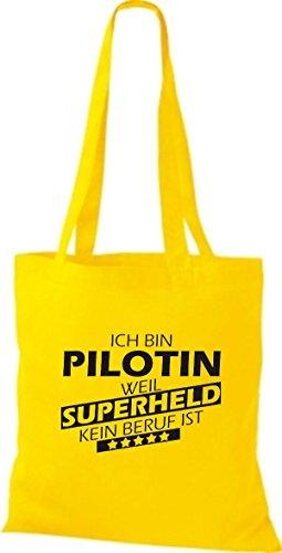Shirtstown Stoffbeutel Ich bin Pilotin, weil Superheld kein Beruf ist gelb