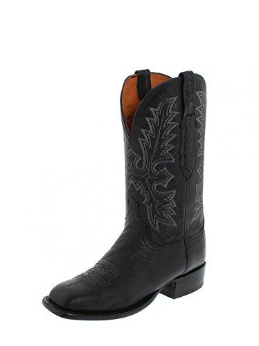 Lucchese al2510Messieurs Bottes Western Bottes d'équitation Noir - Black (Weite D)
