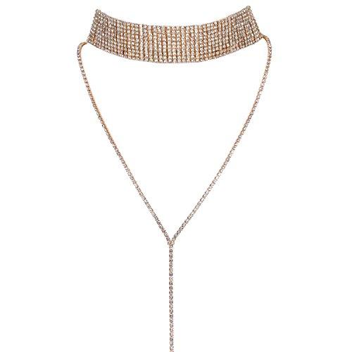 JewelryWe Schmuck Frauen Damen Multi Reihen Strass Choker Halskette Pullover Lange Kette mit Anhänger Halsband Gold