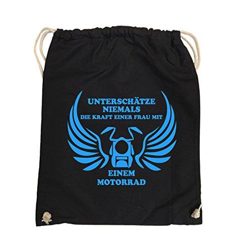Comedy Bags - UNTERSCHÄTZE NIEMALS FRAU MIT MOTORRAD - Turnbeutel - 37x46cm - Farbe: Schwarz / Pink Schwarz / Blau