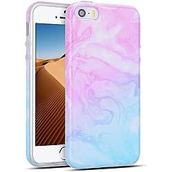Mosoris Coque iPhone 5S, iPhone Se Silicone Csae Marbre Motif TPU Souple Housse Etui Ultra Mince pour iPhone 5 / 5S / Se de Protection Flexible Soft Cover Couverture Anti Choc, Rose et Bleu