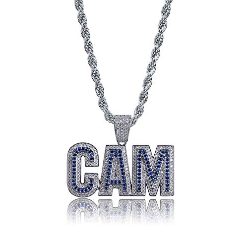 Qiulv Brief Hiphop Anhänger 18K Gold Überzogen Iced Out Alphabet NOCKEN Halskette Inlay Micropave Simuliert Diamant Digital Kette Bling Schmuck,Silver