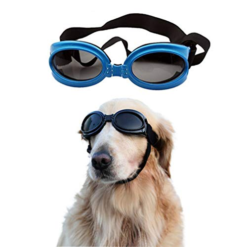 SelfLove Sonnenbrille für Hunde Hundebrille Hundesonnenbrille Brille für mittleren/großen Hund Faltbar Wasserdicht UV-Schutz Augenschutz Anti-Fog Verstellbar (blau)