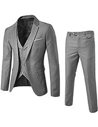 9ddeac64cc Logobeing Traje - para Hombre 3 Piezas Blazer de Negocios Banquete de Boda Chaleco  y Pantalones