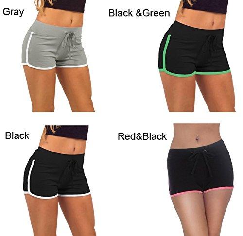 CRAVOG Damen Baumwolle Shorts Hot Pants Sporthose Strand Running Gym Yoga Shorts Hosen Grün