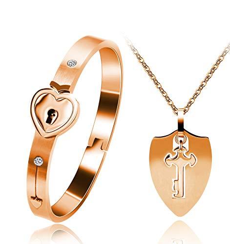 Uloveido Shield Key Halskette und Heart Lock Armband für Paare Schmuck Set Sie halten den Schlüssel zu meinem Herzen Rose Gold Farbe Armband Halskette Set für Männer und Frauen Y473 (Paare Armband Schloss Und Schlüssel)