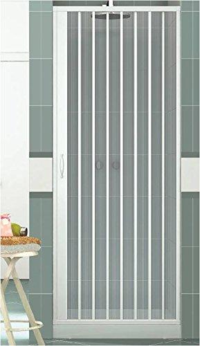 Rollplast BVEN2LONCC28090 Mampara de ducha con fuelle, tamaño H 90 cm x 185 cm, PVC, por un lado, única puerta, con apertura lateral, color blanco