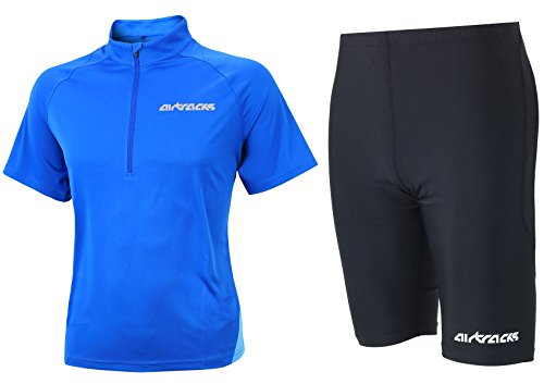 Airtracks FUNKTIONS-LAUFSET - Laufhose PRO AIR KURZ/Running Hose + Laufshirt Kurzarm AIR TECH/Running T-Shirt - blau-schwarz - L - Die Tech-hose