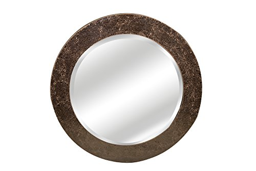 Slate & Rose Round Crackle Design Wall Mirror Mosaic Glass Frame (Amber, Diameter 40cm)