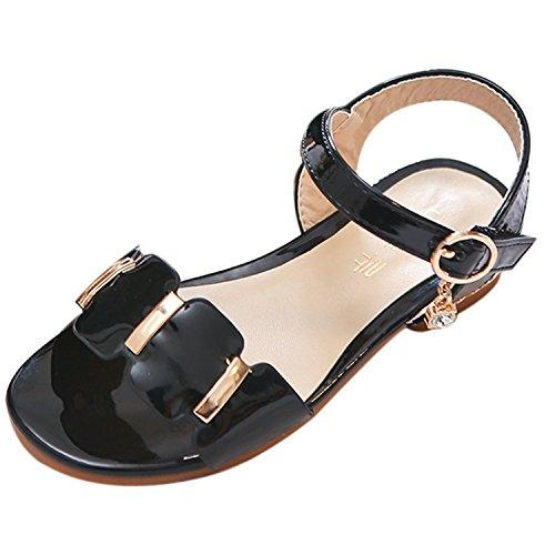 Oasap Girl's Oepn Toe Buckle Strap Low Heels Sandals Black