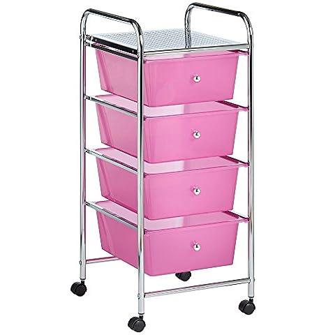 VonHaus 4 Drawer Storage Trolley | Home Office Supplies or Make-up & Beauty Accessories | Pink