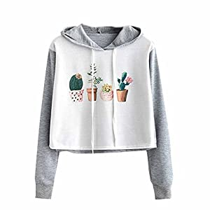 HGWXX7's Blouse Women's Blouse Panda Print Long Sleeve Short Hooded Blouse Pullover Sweatshirt Tops Blouse