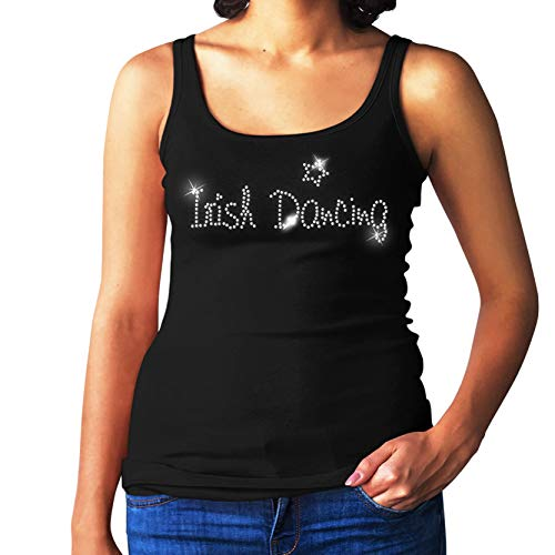 RBS-Printing Irische Tanzende Damen Weste - Kristall Strasssteine Design - Tanz - Disco - Kostüm - (Größe 8 to 16) - Schwarz, 8-10 ()