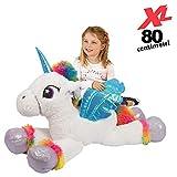 Bakaji toys Peluche Unicorno Gigante XL Altezza 80 cm Morbidissimo Pupazzo Bambini Ragazzi Cavallo Extra Large Morbido Idea Regalo (Bianco)