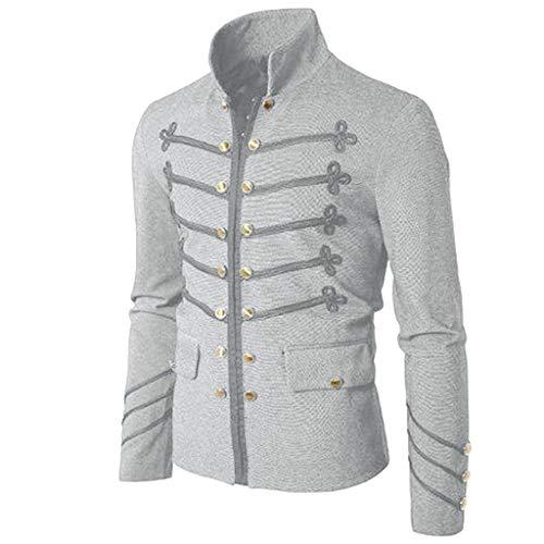 (UJUNAOR Luxus Frühling Männer Pullover Lässiges Einfarbig Besticktes Knopf Herrenhemd(Grau,EU M/CN L))
