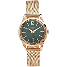 Henry London Unisex Stratford Quartz Watch with Green Dial Analogue Display and Rose Gold Stainless Steel Bracelet (Certified Refurbished)