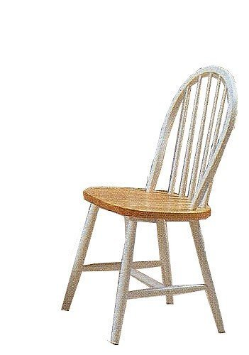 Set of 4 Natural & White Finish Windsor Wood Dining Chair/Chairs by Acme Furniture (Dining Chair Windsor)
