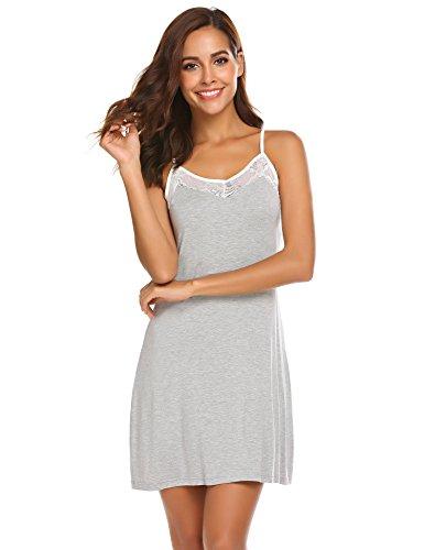29862bc9295d14 Meaneor Fashion Origin Damen Viskose Negligee Spitze Nachthemd V-Ausschnitt  Nachtkleid Sexy Nachtwäsche Sleepwear