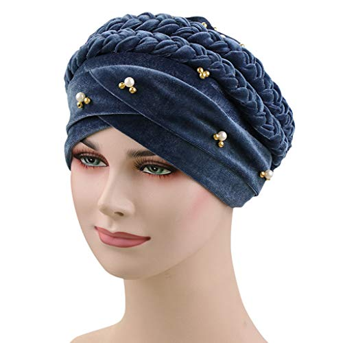 iHAZA Frauen Pearl Braid Velvet muslimischen Stretch Turban Hut Kopftuch Wrap Cap Ruffled Velvet Wrap