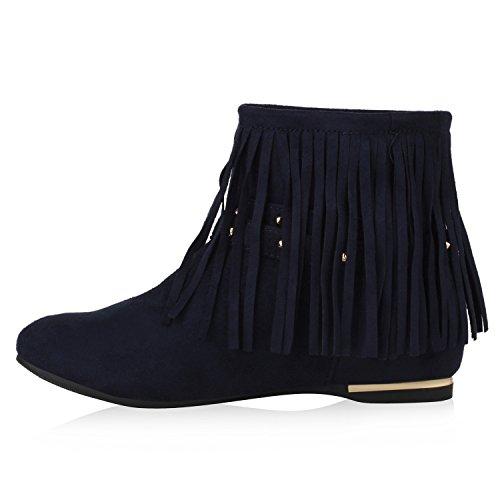 Damen Stiefel Stiefeletten Nieten Fransen Schuhe Dunkelblau