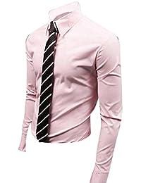 Jeansian Hombre Camisas Moda Manga Larga Men Fashion Slim Fit Casual Long Sleeves Shirts 8504