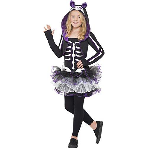 Skelett Katze Kostüm - Amakando Katzenkostüm Kinder Katzen Skelett Kostüm M 7 - 9 Jahre Skelettkostüm Mädchen Katze Tütü Kinderkostüm Halloweenkostüm Katzenskelett Faschingskostüm Cat