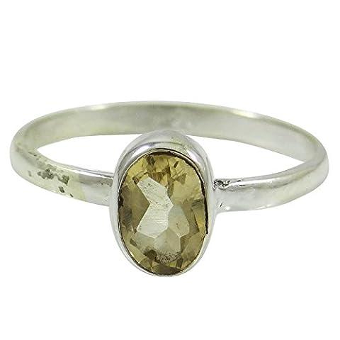 argent sterling mode anneau de pierre citrine 925 femmes marquées bijoux