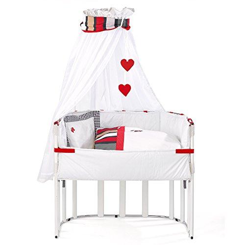Gesslein 460041 Beistellbett i.sleep bestehend aus Bettwäsche, Nestchen, Matratze, Spannbetttuch, Himmel und Himmelthalter, weiß/feline