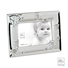 Idea Regalo - Mascagni Cornice Portafoto per bebè, con cristalli Swarovski blu metallizzato, 17x 22x 1,5cm