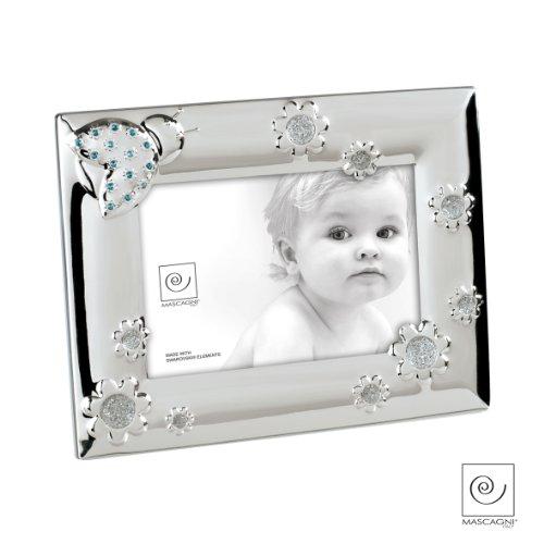 Mascagni Bilderrahmen Baby mit Kristallen Swarovski Metall blau 17x 22x 1,5cm