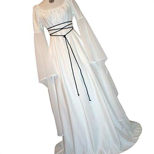 Provide The Best Frauen Langarm Rundhals Partei-Maxi Gürtel Kleid Halloween Kostüm