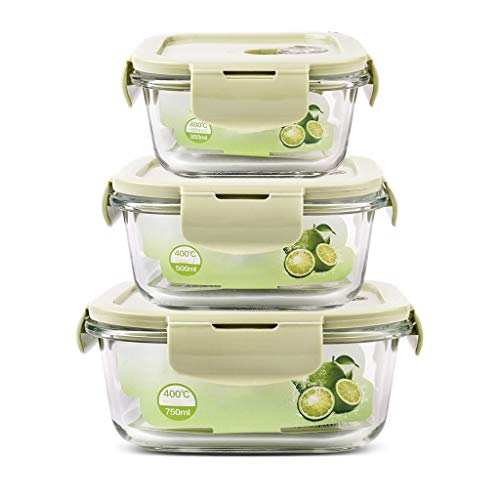 Brotdose Square Bento Lunch Box Container 3-teiliges Set Glas isoliert auslaufsicheres Fach tragbare Mikrowelle Teen School Office MUMUJIN (Color : Green) (Office Glas Lunch-box)