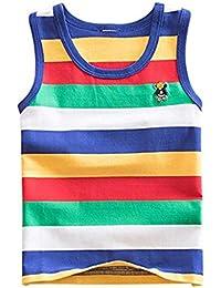 hellomiko Chaleco sin Mangas para Niños Camiseta Baby Boy Chica a Rayas Camisa de Dibujos Animados Short-Sleeved Summer Underwear
