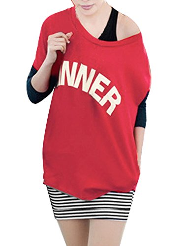 Femme Decolleté Chemise w Sans manche Rayures Mini Robe Rouge Noir XS Multicolore