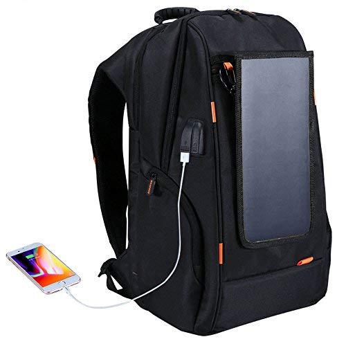 Docooler Sac ?dos solaire, Sac de camping avec panneau solaire noir, jeunesse étudiant masculin de plein air de Voyage USB solaire de charge a preuve de l'eau Sac ?dos respirant