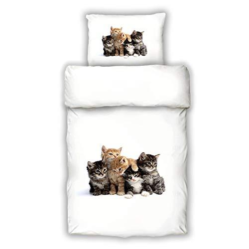 Offen Bettwäsche Katze Katzenmotiv Tiger Garnitur 135x200+kissenbezug 80x80 Baumwolle Möbel & Wohnen