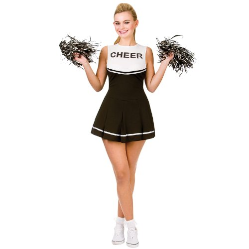 Cheerleader Black / White Sport Costume Woman Fancy (Sport Fancy Dress)