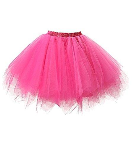(Frauen und Mädchen Ballettröckchen Röcke Prinzessin Ballett Pettiskirt Performing Dress Dancewear Unterröcke (Für Erwachsene(Waist: 60-95CM), rose red))