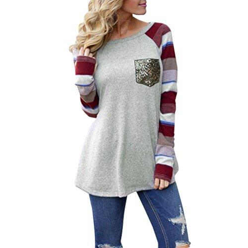 22ed00541719b MRULIC Damen Frauen Rundhals Splice Pailletten Tasche Lose spezifisch  Gestreift Langarm Top Bluse Shirt(A