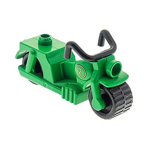 1 x Lego Duplo Motorrad dunkel grün mit Nr. 2