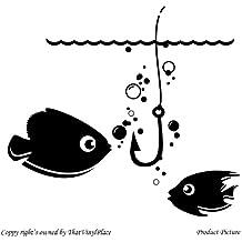 Peces, peces, gancho (26 cm x 28 cm) Color negro baño, infantil, niños de la sala de pegatinas, vinilo del coche, las ventanas y pared, ventanas de pared arte, etiquetas, adorno adhesivo de vinilo ThatVinylPlace