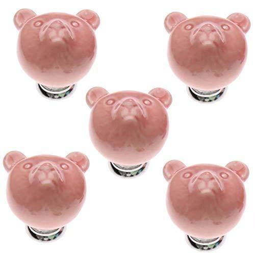 FBSHOP(TM) 38mm 5pcs Rosa Schöne Karikatur Keramik-Türknauf Türknopf Möbelgriffe für Schränke, Schubladen, Truhen, Schränke, Küche, Schlafzimmer, Badezimmer