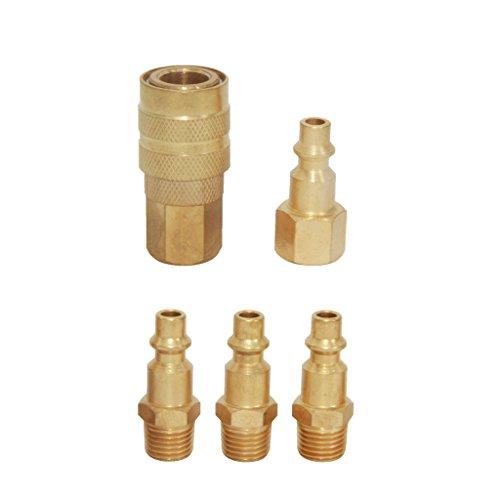 """Sharplace 5er-Set 1/4"""" Schnellwechsler Set Luftschlauch-Steckverbinder Für Kompressor Golden"""