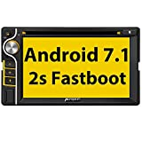 Pumpkin Android 7.1 Autoradio GPS 2 Din avec Lecteur DVD Stéréo de Voiture Ecran Tactile 6.2 Pouces supporte Bluetooth WiFi 4G USB SD Commande au Volant RDS Radio OBD2 Dab+
