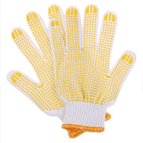 XMUEI Arbeitshandschuhe, Dickes, rutschfestes Milchbaumwollgarn Material Fünf-Finger-Schutzhandschuhe, Geeignet für den BAU, Outdoor, Industrie, Barbecue, 12 Paar (Im Perlen Dutzend)